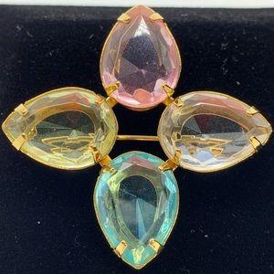 Avon Teardrop Pastel Glass Stones Brooch Vintage